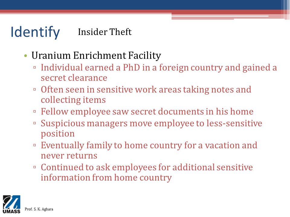 Identify Uranium Enrichment Facility ▫ Individual earned a PhD in a foreign country and gained a secret clearance ▫ Often seen in sensitive work areas