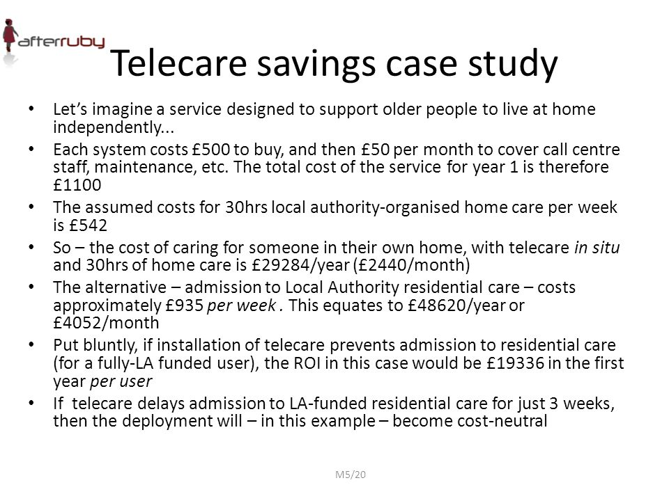 Telecare savings case study Let's imagine a service designed to support older people to live at home independently... Each system costs £500 to buy, a