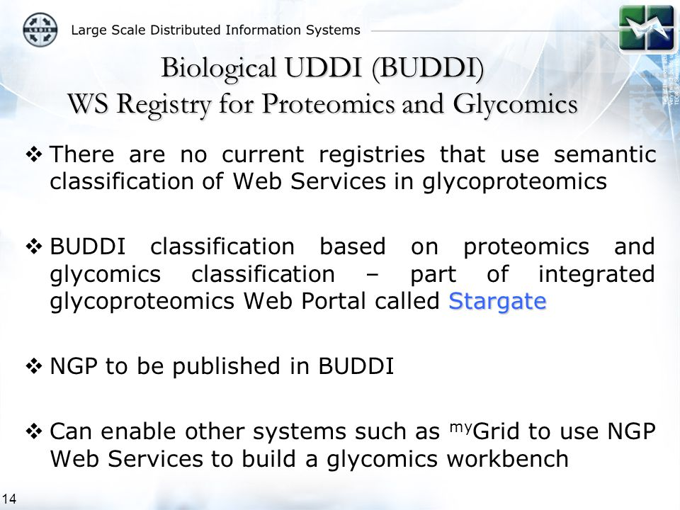 14  There are no current registries that use semantic classification of Web Services in glycoproteomics Stargate  BUDDI classification based on proteomics and glycomics classification – part of integrated glycoproteomics Web Portal called Stargate  NGP to be published in BUDDI  Can enable other systems such as my Grid to use NGP Web Services to build a glycomics workbench Biological UDDI (BUDDI) WS Registry for Proteomics and Glycomics