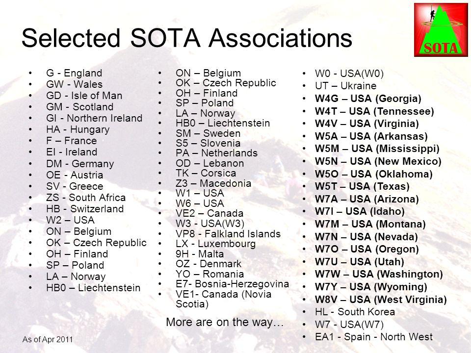 Selected SOTA Associations G - England GW - Wales GD - Isle of Man GM - Scotland GI - Northern Ireland HA - Hungary F – France EI - Ireland DM - Germa