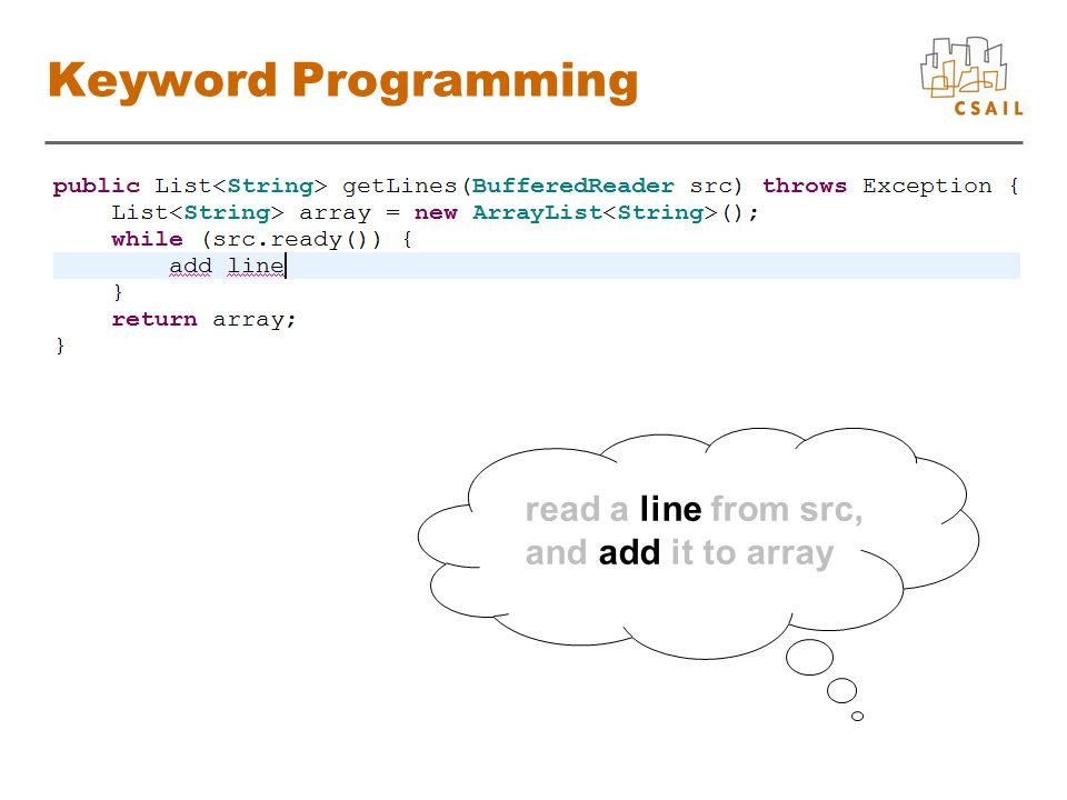 Keyword Programming read a line from src, and add it to array
