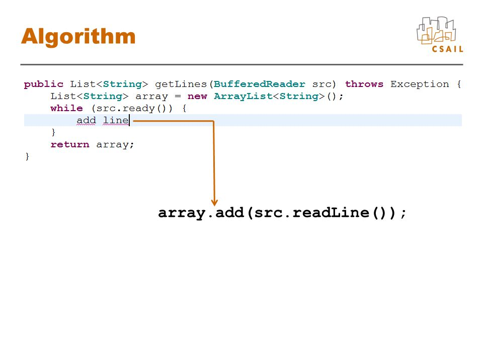 Algorithm array.add(src.readLine());