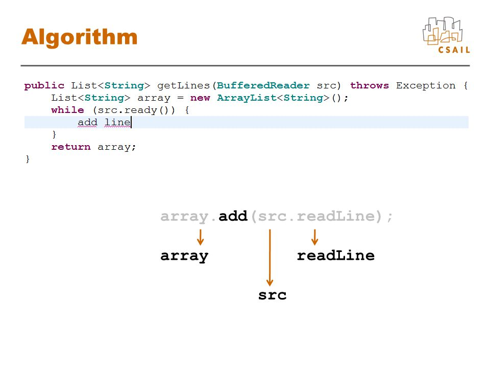 array.add(src.readLine); array readLine src Algorithm