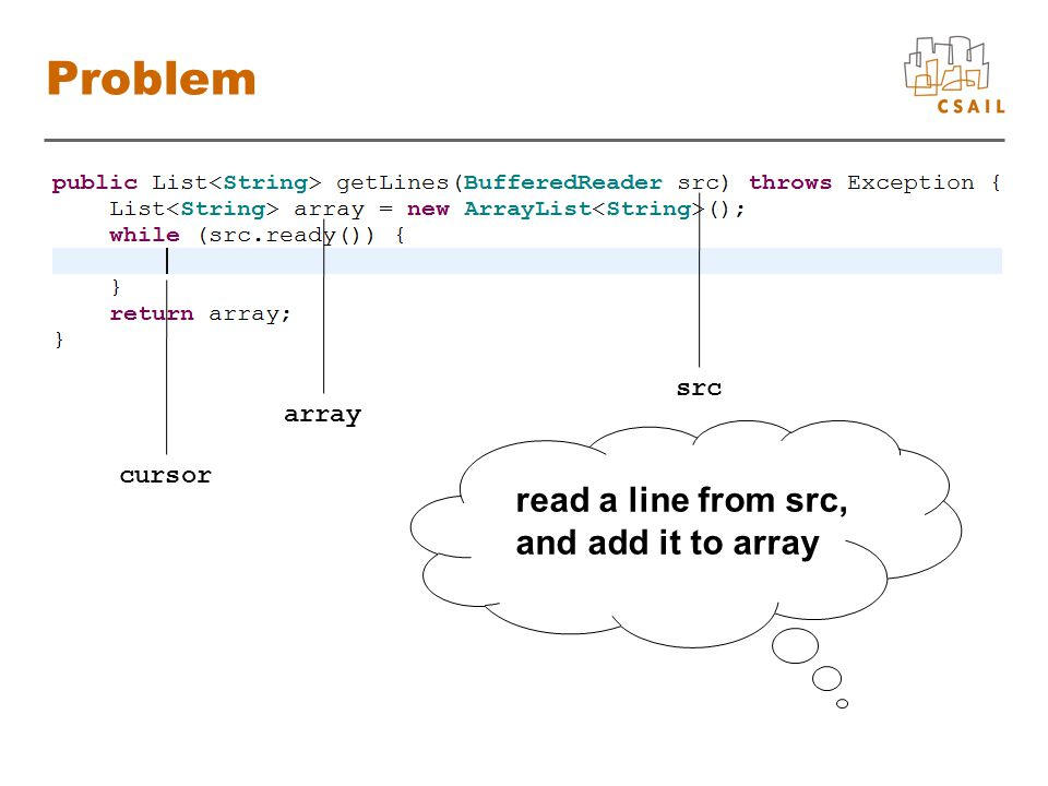 Problem src read a line from src, and add it to array array cursor