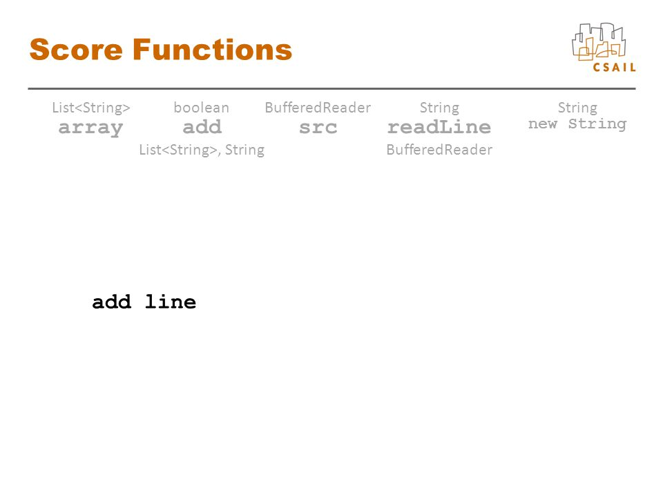 Score Functions array List add boolean List, String src BufferedReader readLine String BufferedReader new String String add line