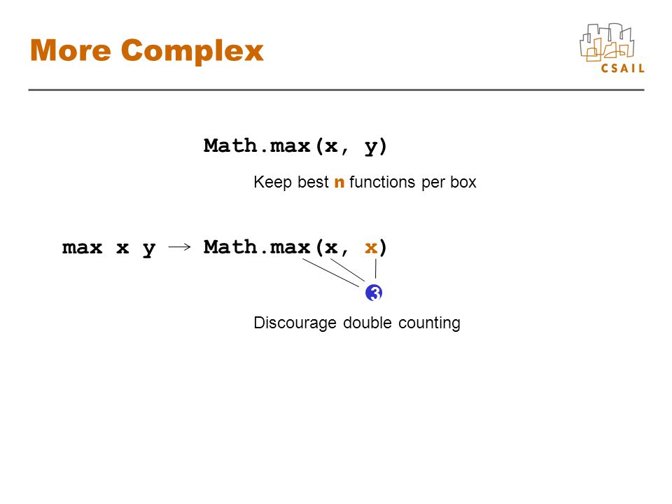 More Complex.Math.max(x, y).......... Keep best n functions per box max x y..Math.max(x, x).......... 3 Discourage double counting