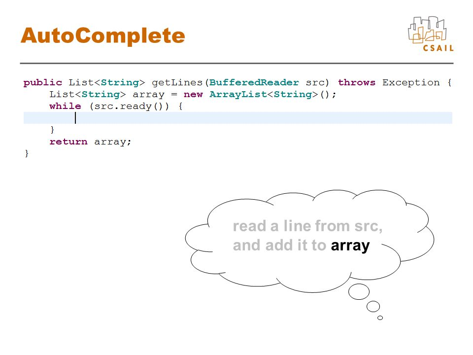 read a line from src, and add it to array AutoComplete