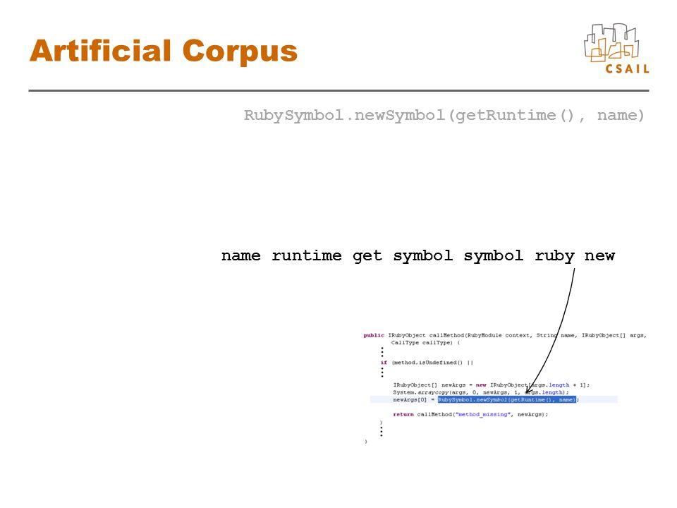 Artificial Corpus RubySymbol.newSymbol(getRuntime(), name) name runtime get symbol symbol ruby new
