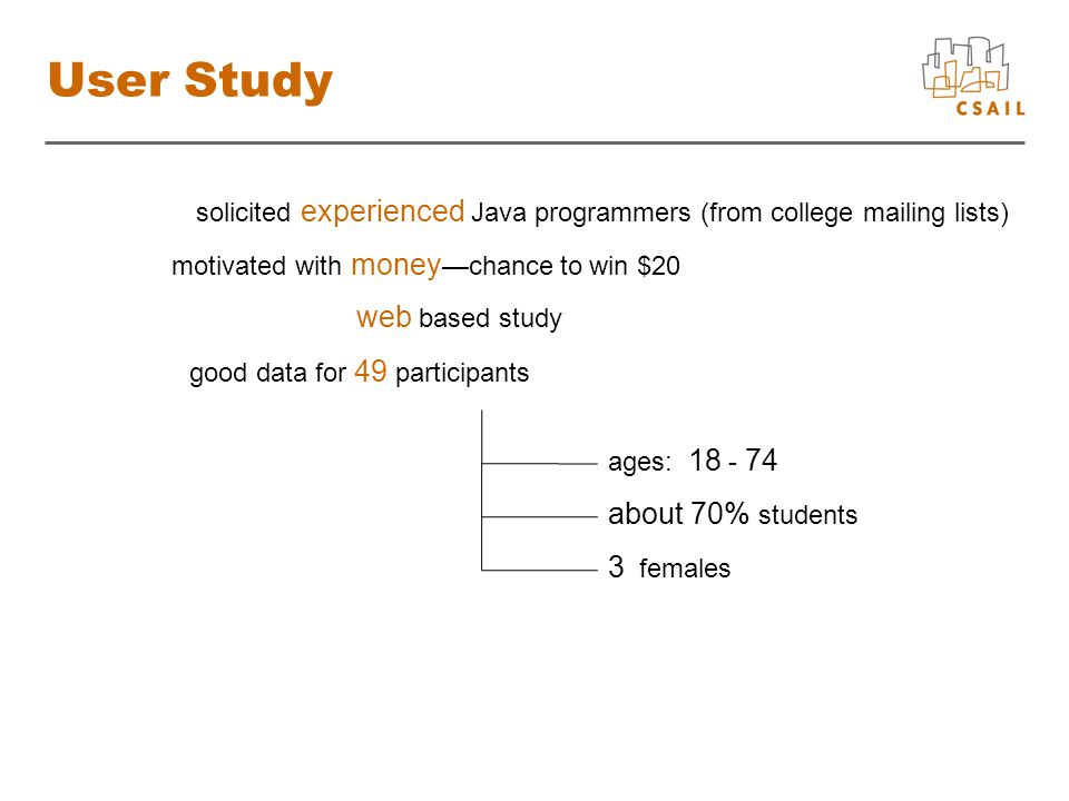 User Study solicited experienced Java programmers (from college mailing lists) motivated with money —chance to win $20 web based study good data for 49 participants ages: 18 - 74 about 70% students 3 females