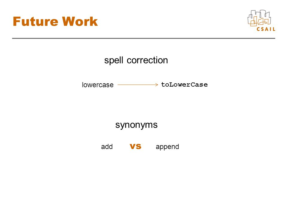 Future Work synonyms lowercase toLowerCase add vs append spell correction