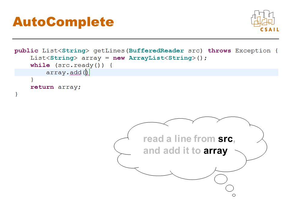 AutoComplete read a line from src, and add it to array