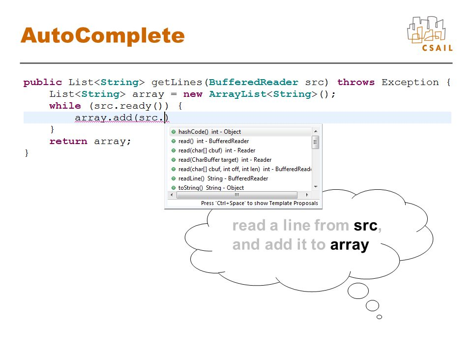 Algorithm array.add(src.readLine());