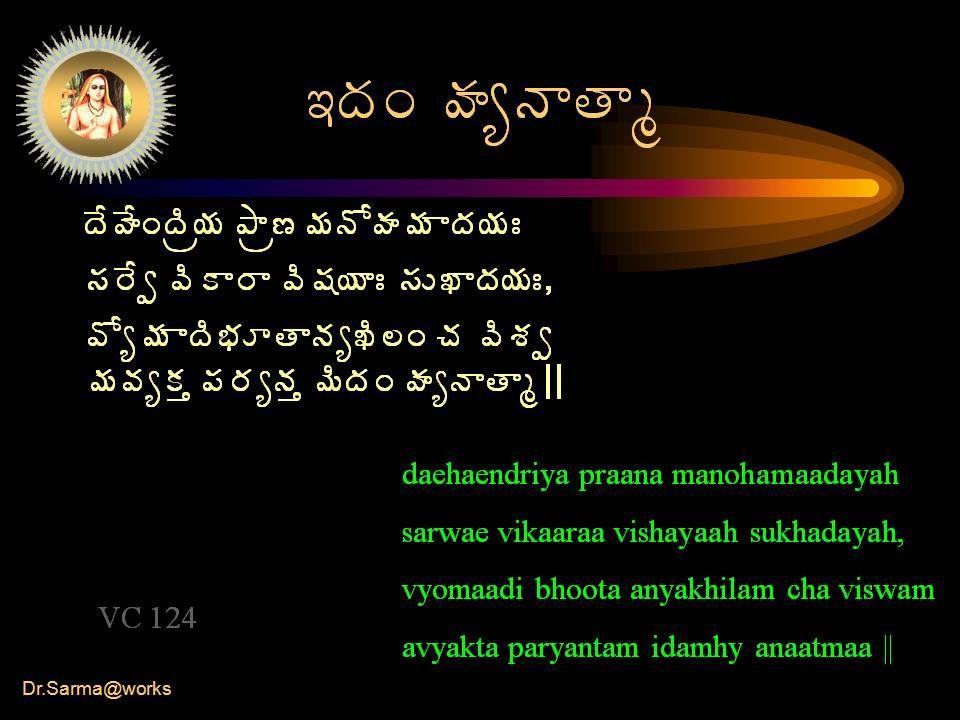 Dr.Sarma@works 'žÁÏ ÿÁêþÂœÂé žÊÿÊÏžÃë¦Á ±Â뛥ÁþÍÿÁ¥Á žÁ¦ÁÐ ¬Á§Êí ©ÃÂ§Â ©Ã«Á¦ÂÐ ¬ÁŎžÁ¦ÁÐ, ©Íê¥Á žäÁÆœÂþÁêŽÃ¨Ï úÁ ©ÃªÁí ¥Á©ÁêÁà ¡Á§ÁêþÁà ¥ÃžÁÏ ÿÁêþÂœÂé || daehaendriya praana manohamaadayah sarwae vikaaraa vishayaah sukhadayah, vyomaadi bhoota anyakhilam cha viswam avyakta paryantam idamhy anaatmaa || VC 124