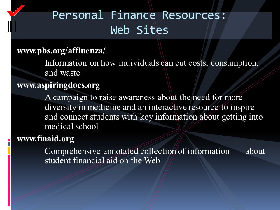 www.pbs.org/affluenza/ Information on how individuals can cut costs, consumption, and waste www.aspiringdocs.org A campaign to raise awareness about t