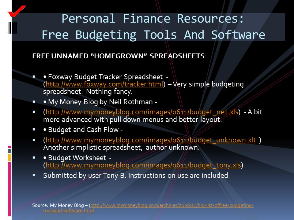 "Personal Finance Resources: Free Budgeting Tools And Software FREE UNNAMED ""HOMEGROWN"" SPREADSHEETS:  Foxway Budget Tracker Spreadsheet - (http://www"