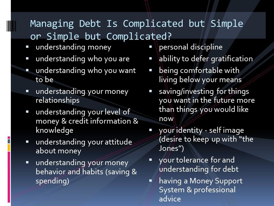 Managing Debt Is Complicated but Simple or Simple but Complicated?  understanding money  understanding who you are  understanding who you want to b
