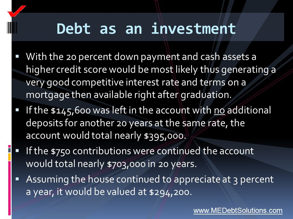 Debt as an investment  With the 20 percent down payment and cash assets a higher credit score would be most likely thus generating a very good compet