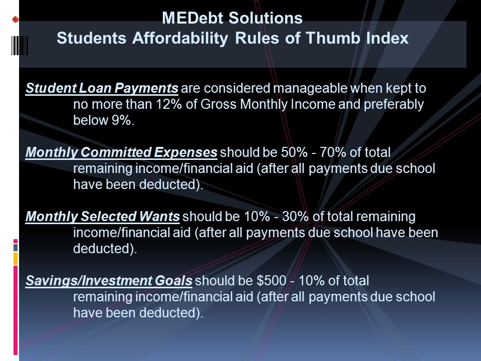 MEDebt Solutions Students Affordability Rules of Thumb Index Student Loan Payments are considered manageable when kept to no more than 12% of Gross Mo