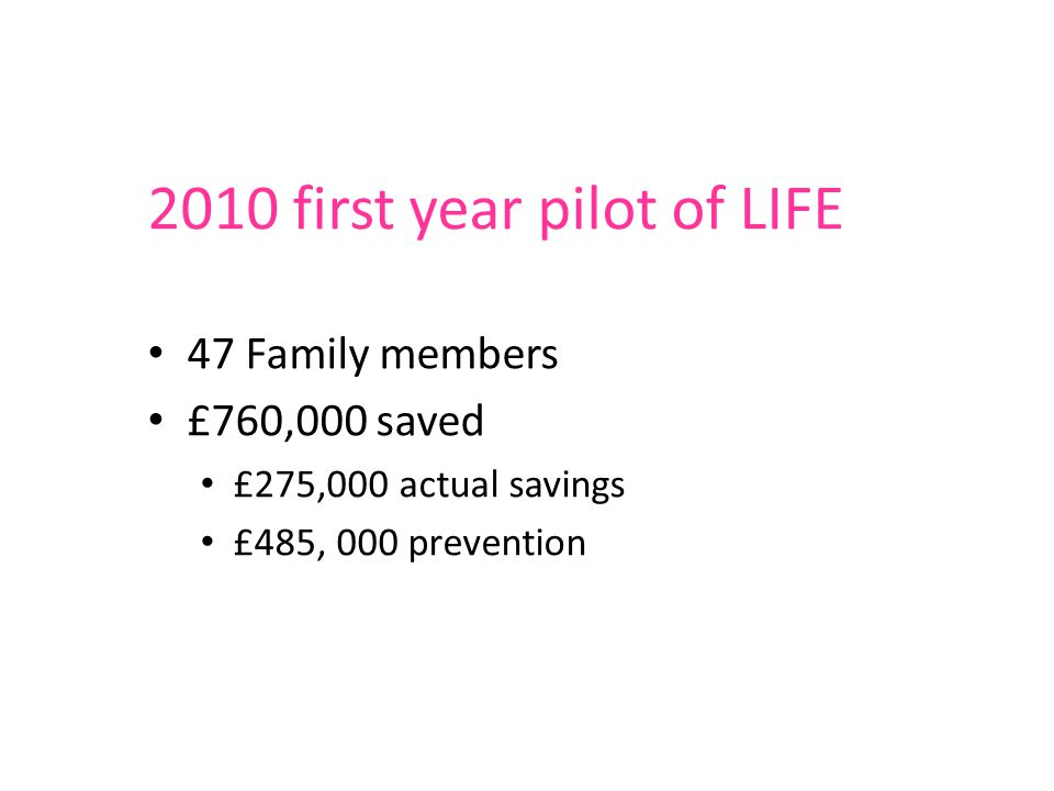 2010 first year pilot of LIFE 47 Family members £760,000 saved £275,000 actual savings £485, 000 prevention