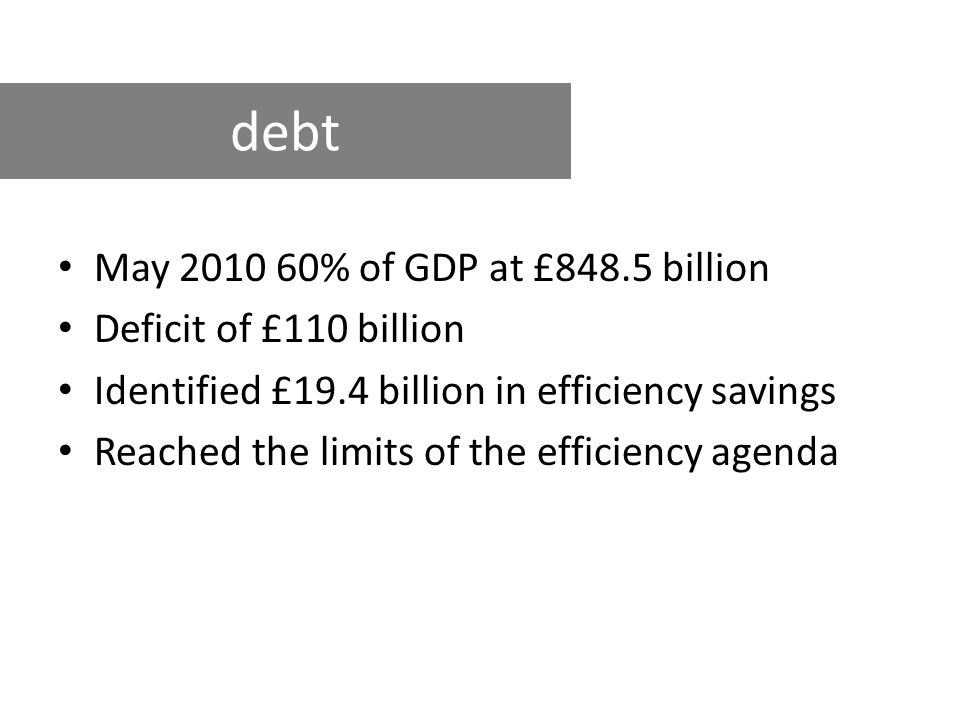 May 2010 60% of GDP at £848.5 billion Deficit of £110 billion Identified £19.4 billion in efficiency savings Reached the limits of the efficiency agenda debt