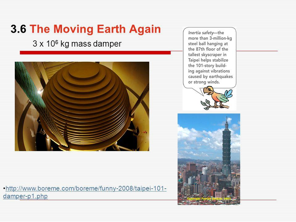3 x 10 6 kg mass damper http://www.boreme.com/boreme/funny-2008/taipei-101- damper-p1.phphttp://www.boreme.com/boreme/funny-2008/taipei-101- damper-p1.php