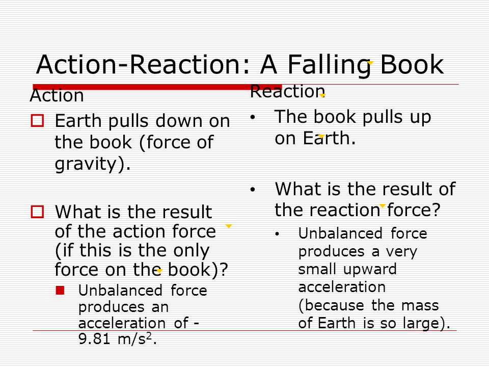 Action-Reaction: A Falling Book Action  Earth pulls down on the book (force of gravity).