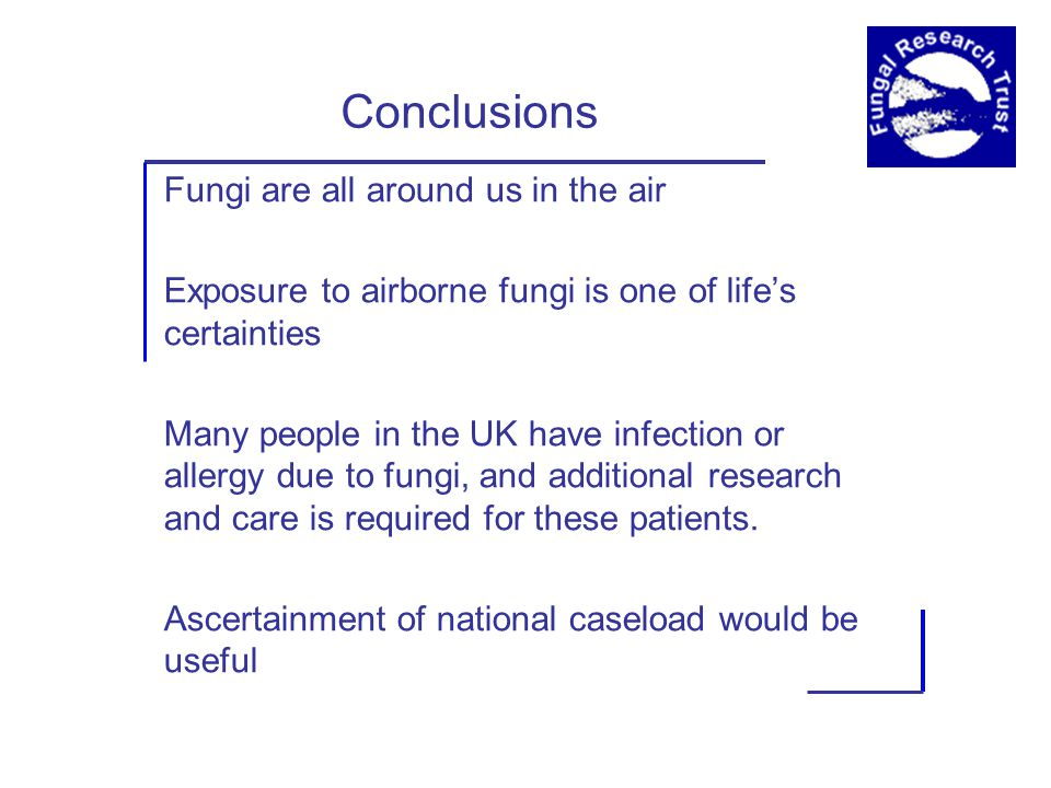 Conclusions Fungi are all around us in the air Exposure to airborne fungi is one of life's certainties Many people in the UK have infection or allergy due to fungi, and additional research and care is required for these patients.