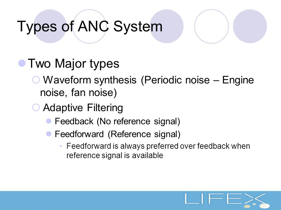 Types of ANC System Two Major types  Waveform synthesis (Periodic noise – Engine noise, fan noise)  Adaptive Filtering Feedback (No reference signal) Feedforward (Reference signal) Feedforward is always preferred over feedback when reference signal is available