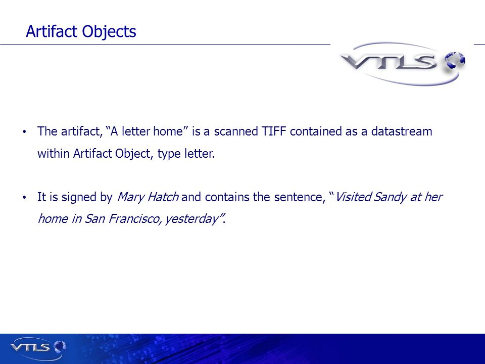 The artifact, A letter home is a scanned TIFF contained as a datastream within Artifact Object, type letter.
