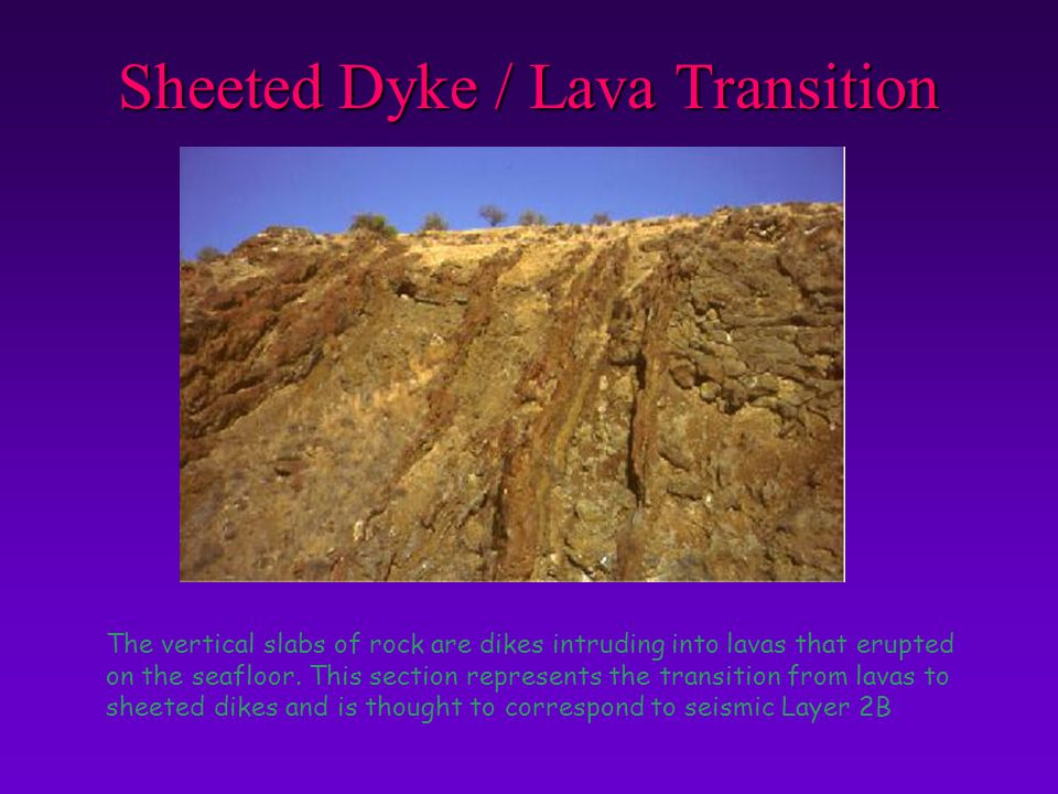 Sheeted Dyke / Lava Transition The vertical slabs of rock are dikes intruding into lavas that erupted on the seafloor. This section represents the tra