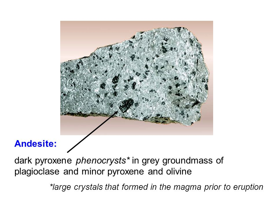Andesite: dark pyroxene phenocrysts* in grey groundmass of plagioclase and minor pyroxene and olivine *large crystals that formed in the magma prior to eruption