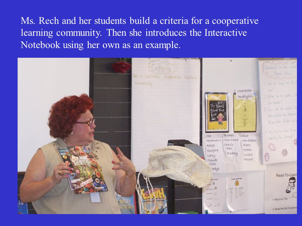 Ms. Rech and her students build a criteria for a cooperative learning community. Then she introduces the Interactive Notebook using her own as an exam