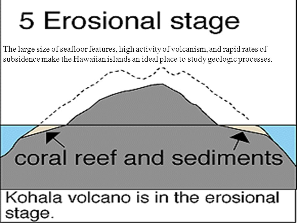 The large size of seafloor features, high activity of volcanism, and rapid rates of subsidence make the Hawaiian islands an ideal place to study geologic processes.