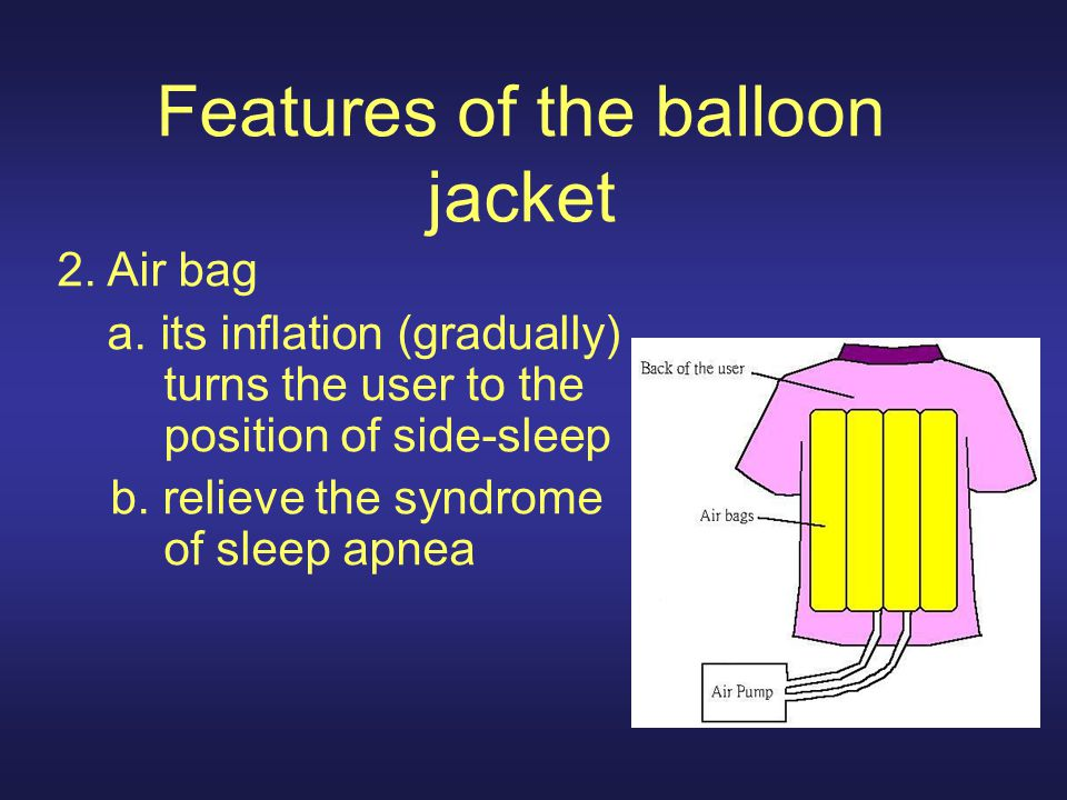 Features of the balloon jacket 2. Air bag a.