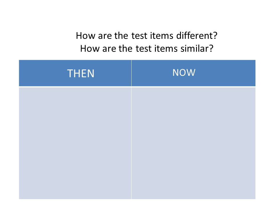 THEN NOW How are the test items different How are the test items similar