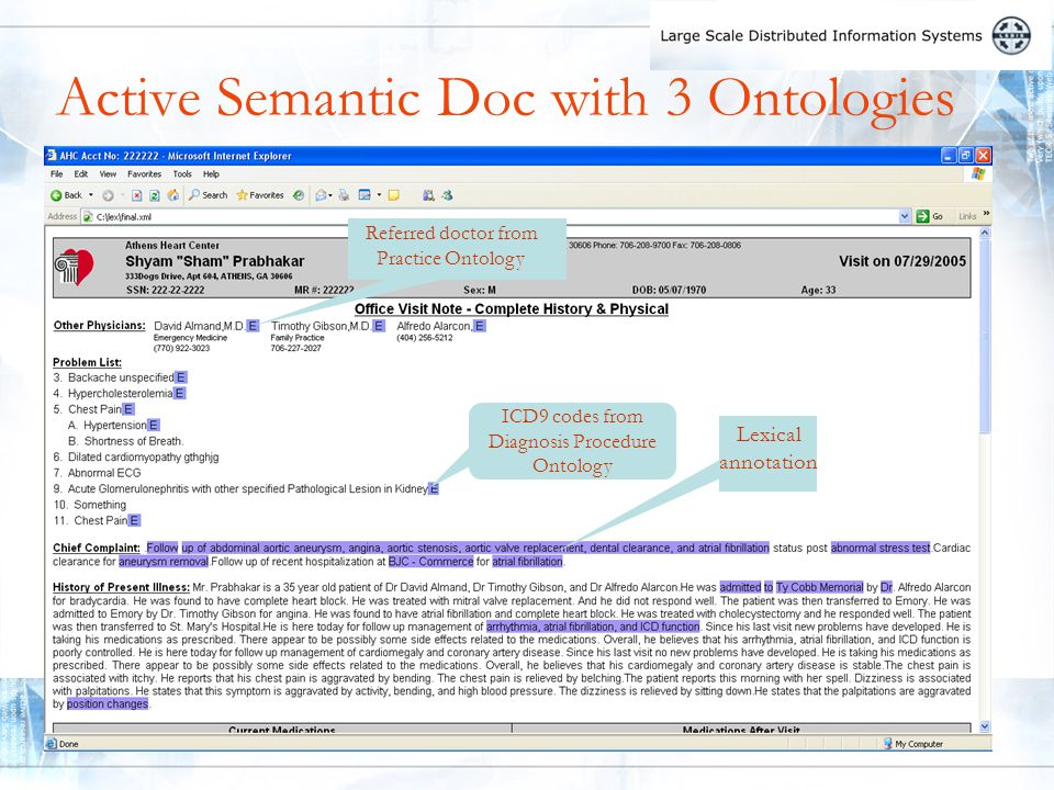Active Semantic Doc with 3 Ontologies Referred doctor from Practice Ontology Lexical annotation ICD9 codes from Diagnosis Procedure Ontology