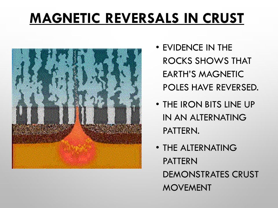 MAGNETIC REVERSALS IN CRUST EVIDENCE IN THE ROCKS SHOWS THAT EARTH'S MAGNETIC POLES HAVE REVERSED.