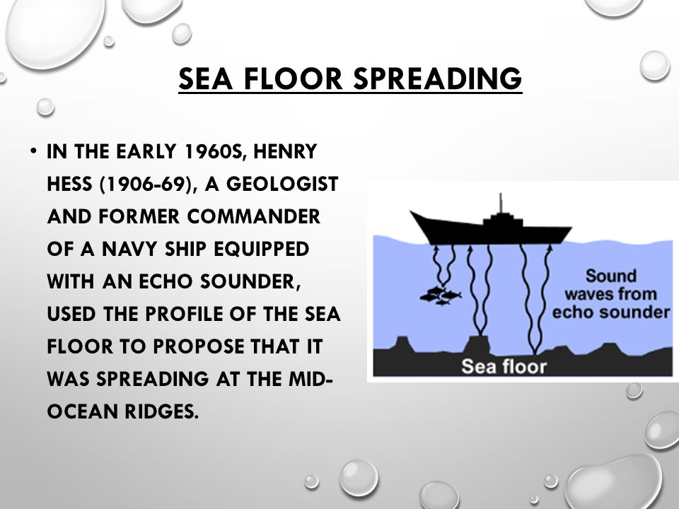 SEA FLOOR SPREADING IN THE EARLY 1960S, HENRY HESS (1906-69), A GEOLOGIST AND FORMER COMMANDER OF A NAVY SHIP EQUIPPED WITH AN ECHO SOUNDER, USED THE PROFILE OF THE SEA FLOOR TO PROPOSE THAT IT WAS SPREADING AT THE MID- OCEAN RIDGES.