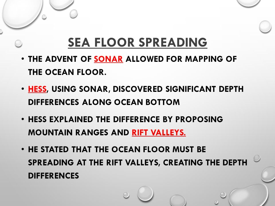 SEA FLOOR SPREADING THE ADVENT OF SONAR ALLOWED FOR MAPPING OF THE OCEAN FLOOR.