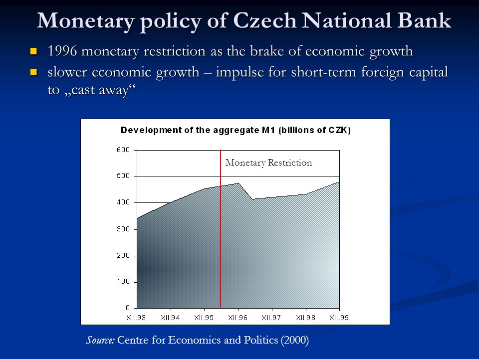 4. Monetary policy of Czech National Bank restrictive monetary policy in the early 90´s – main goal – decrease inflation restrictive monetary policy i