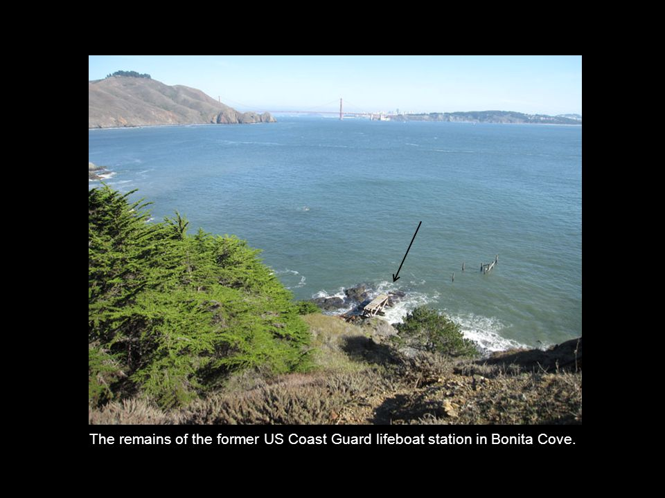 The remains of the former US Coast Guard lifeboat station in Bonita Cove.