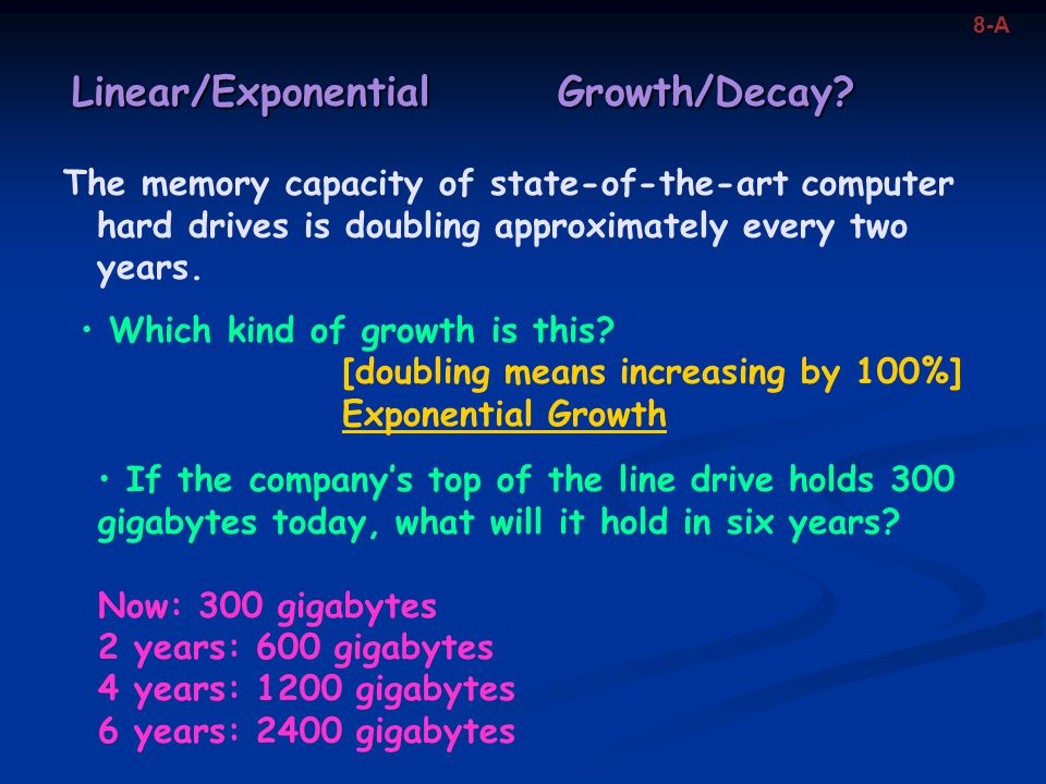 Linear/Exponential Growth/Decay.