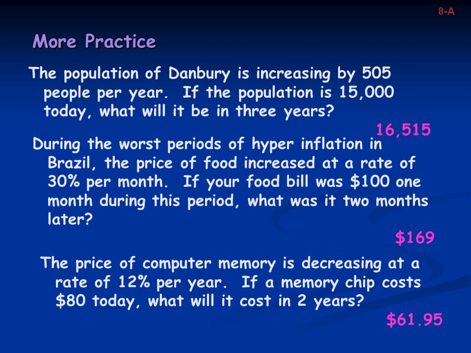 More Practice The population of Danbury is increasing by 505 people per year. If the population is 15,000 today, what will it be in three years? 16,51