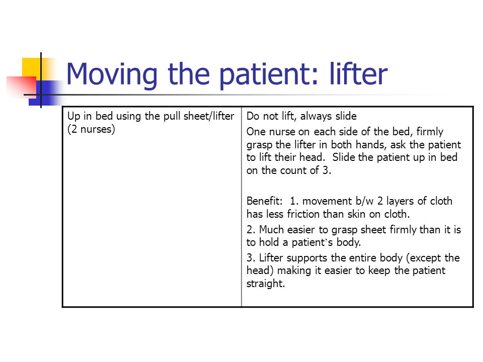 Moving the patient: lifter Up in bed using the pull sheet/lifter (2 nurses) Do not lift, always slide One nurse on each side of the bed, firmly grasp the lifter in both hands, ask the patient to lift their head.