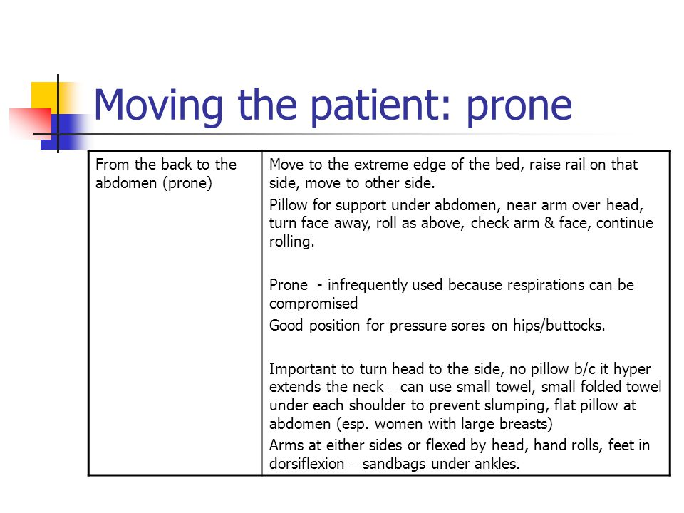 Moving the patient: prone From the back to the abdomen (prone) Move to the extreme edge of the bed, raise rail on that side, move to other side.