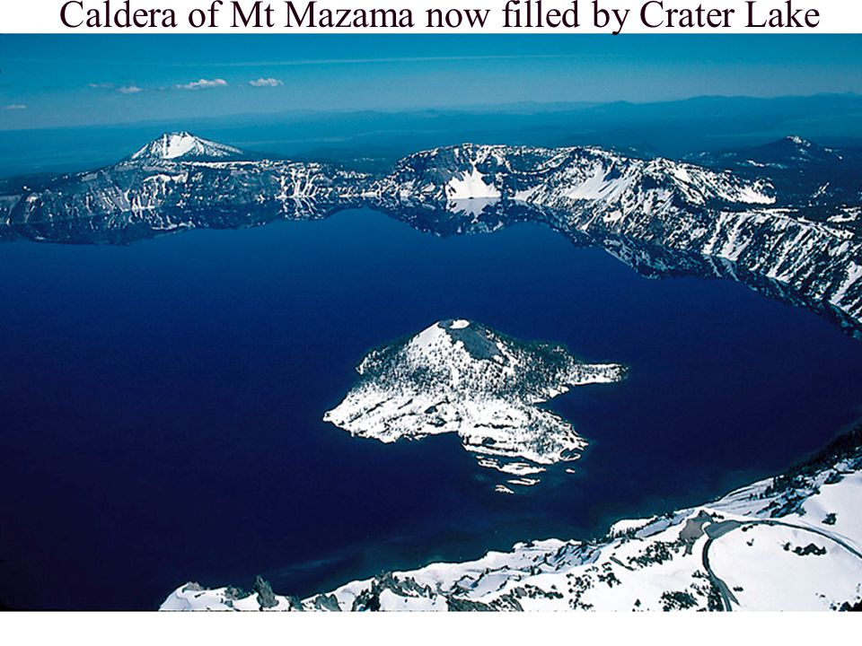 Caldera of Mt Mazama now filled by Crater Lake