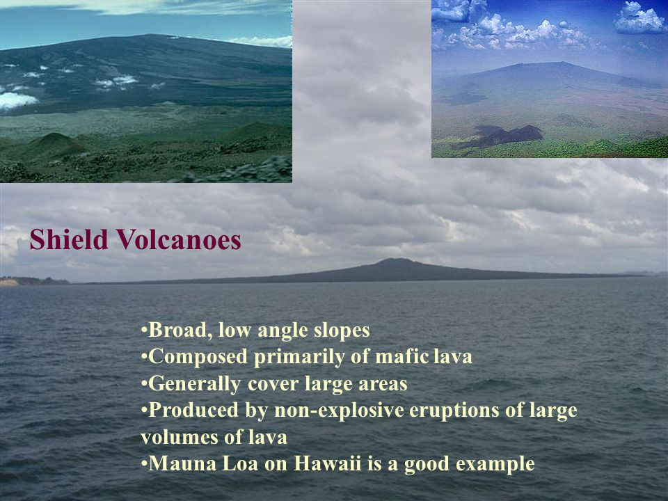 Broad, low angle slopes Composed primarily of mafic lava Generally cover large areas Produced by non-explosive eruptions of large volumes of lava Mauna Loa on Hawaii is a good example Shield Volcanoes