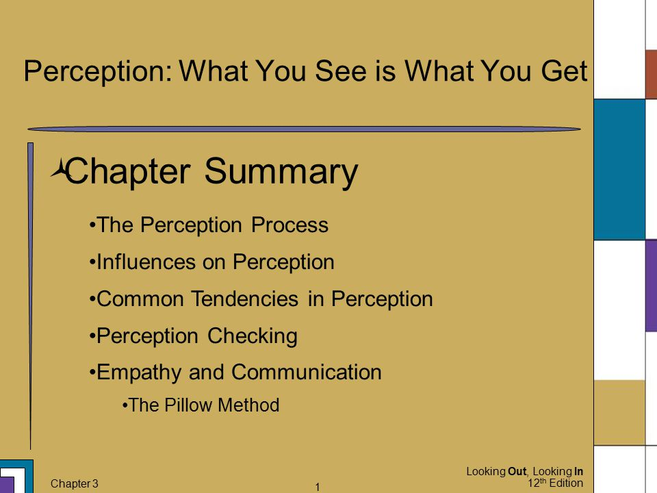Looking Out, Looking In 12 th Edition Chapter 3 12 The Perception Process  Interpretation Self-Concept How you view yourself will alter your interpretation When you're feeling down the work looks much worse Relational Satisfaction Positive behavior may be viewed as negative depending on your current satisfaction in a relationship It is possible for each section of the perception process to occur out of order