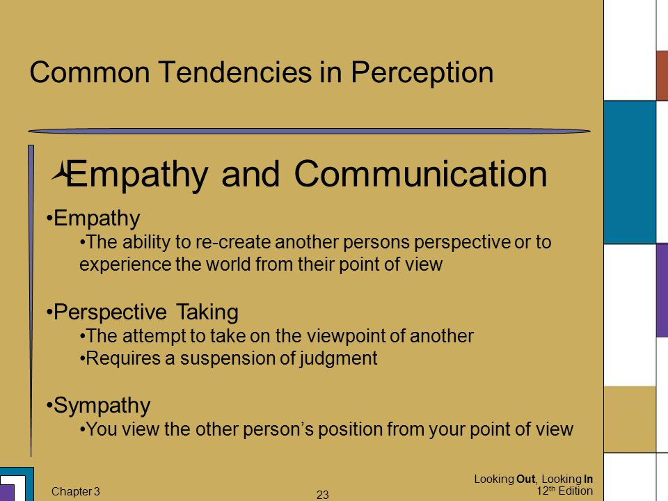 Looking Out, Looking In 12 th Edition Chapter 3 23 Common Tendencies in Perception  Empathy and Communication Empathy The ability to re-create anothe