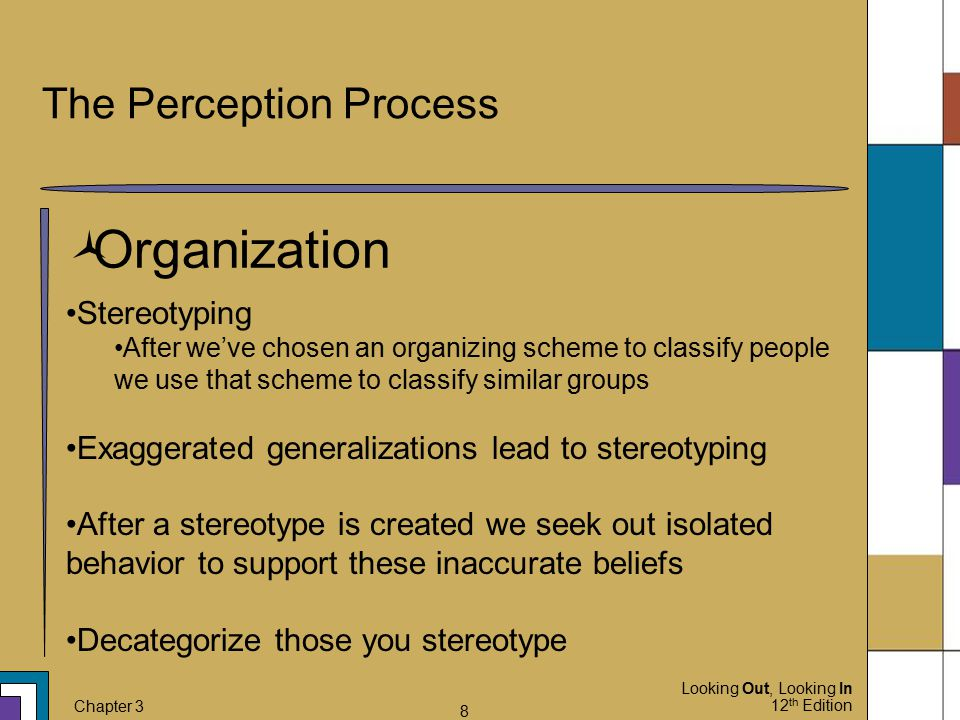 Looking Out, Looking In 12 th Edition Chapter 3 8 The Perception Process  Organization Stereotyping After we've chosen an organizing scheme to classi